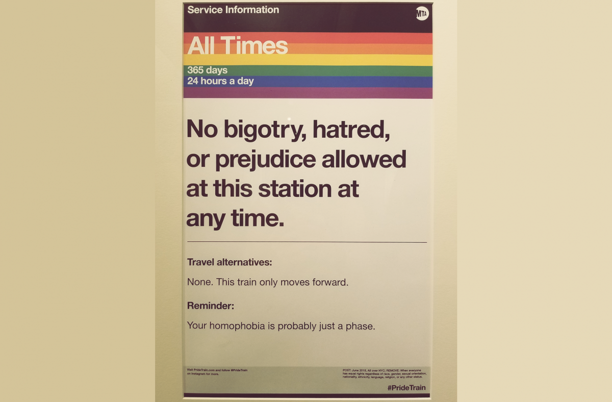 Photo of MTA 'No Bigotry' sign - Photo by Siobahn Hotaling
